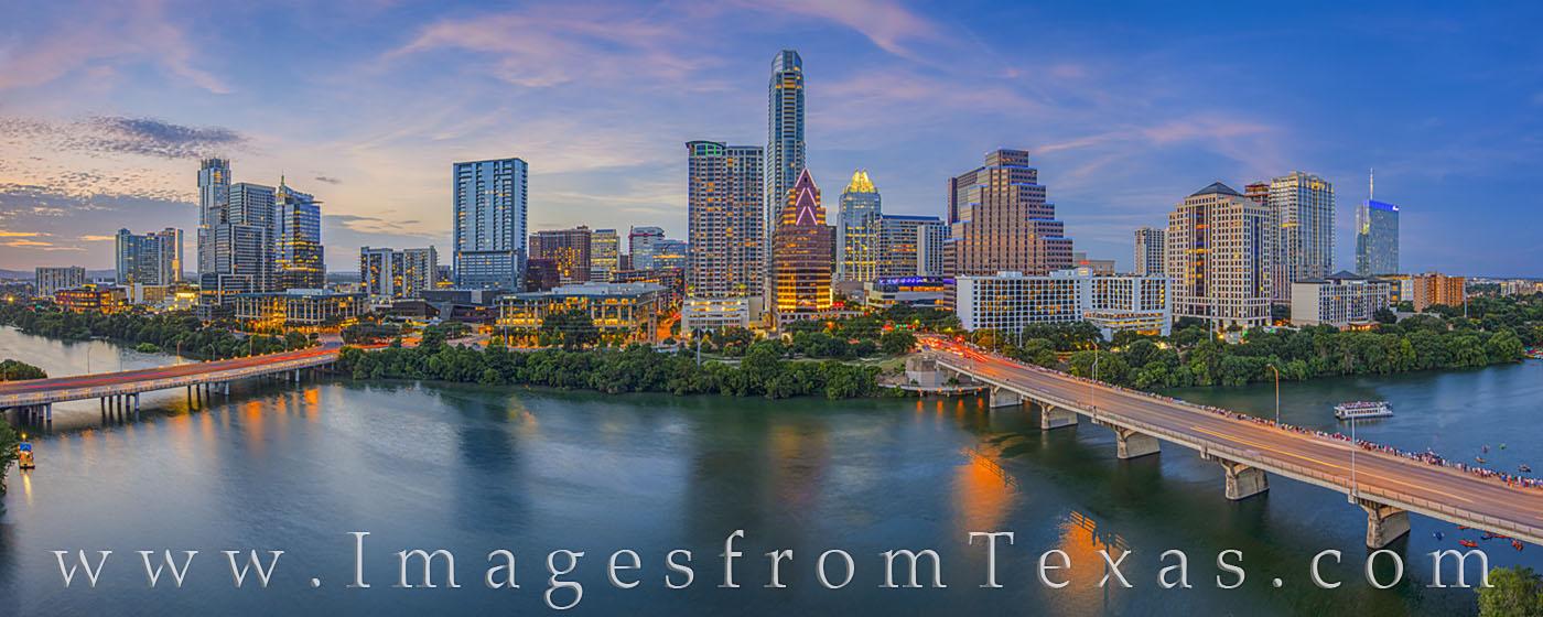 austin skyline, austin, downtown, ladybird lake, congress bridge, first street bridge, austonian, frost tower, independent, jenga, summer, sunset, evening, hyatt, photo