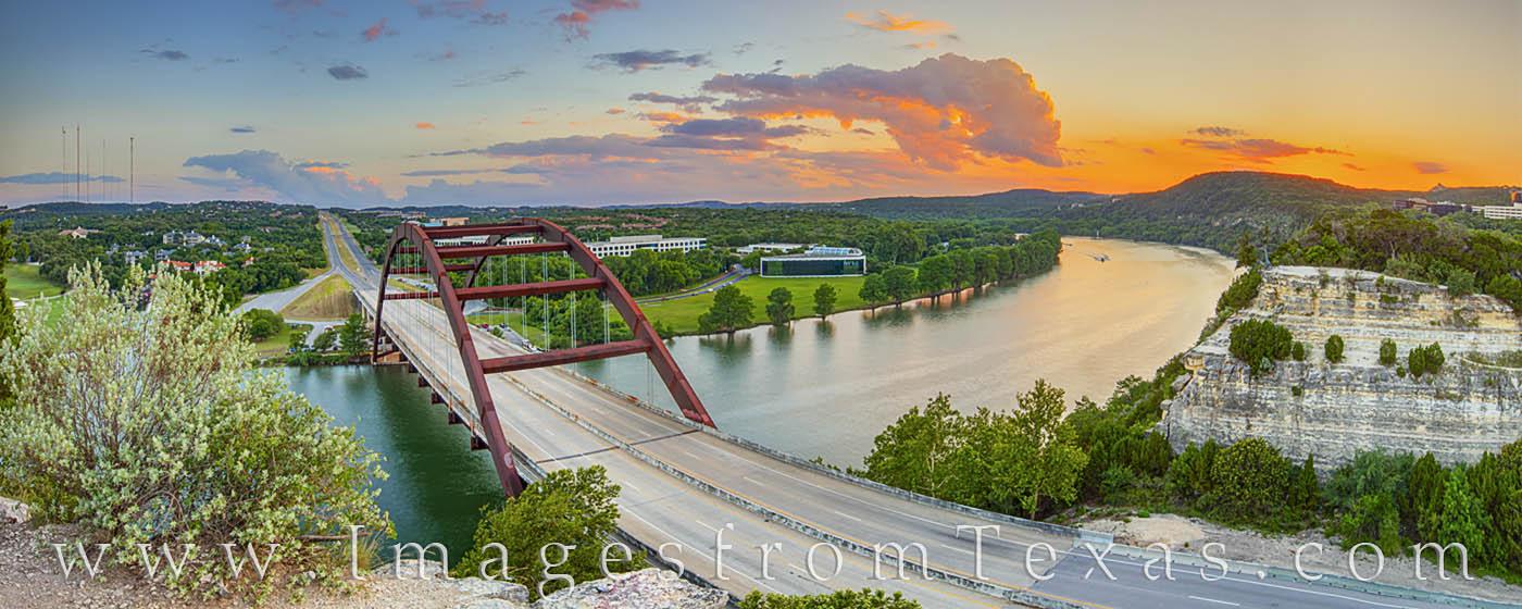 360 bridge, pennybacker bridge, austin, bridges, austin icons, austin fun, overlook, colorado river, hill country, summer, sunset, photo