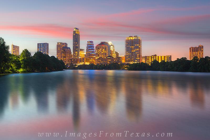 austin from ladybird lake,Austin evening images,austin high rises,austin texas cityscape,lady bird lake, photo
