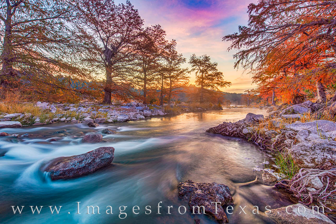 pedernales river, fall, autumn, sunrise, water, november, cold, orange, state park, photo
