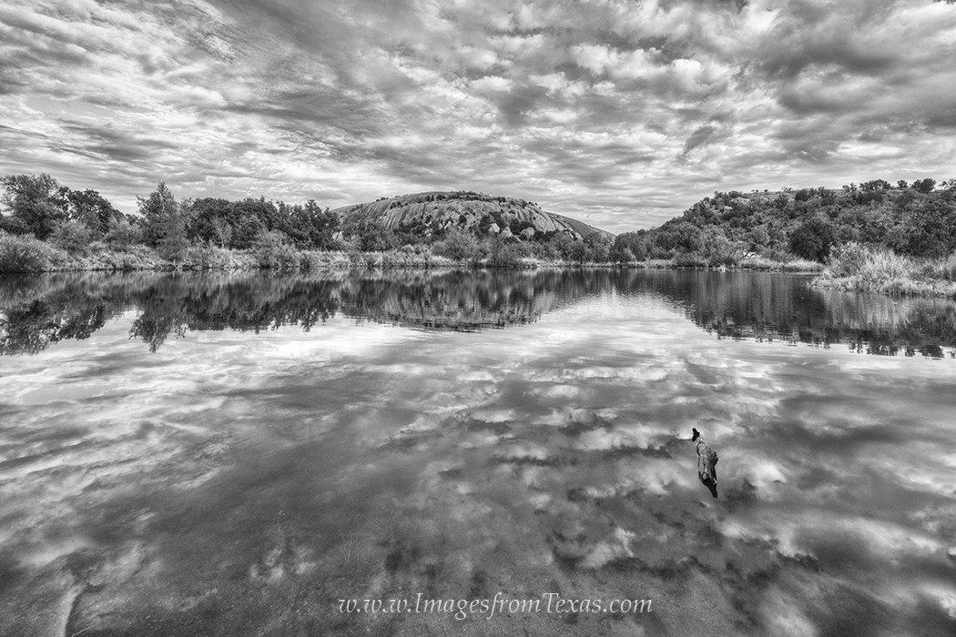 enchanted rock,black and white. texas in black and white,black and white landscapes,texas hill country,moss lake,cloud reflections,texas landscapes,texas state parks,enchanted rock state,texas images, photo