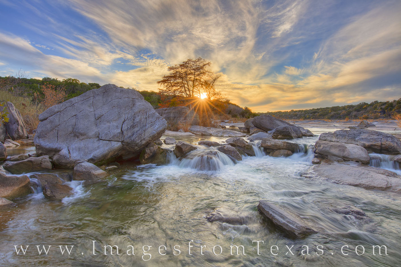 pedernales falls, autumn, fall, sunset, cypress, river, waterfall, texas hill country, sunburst, river, pedernales river, evening, photo