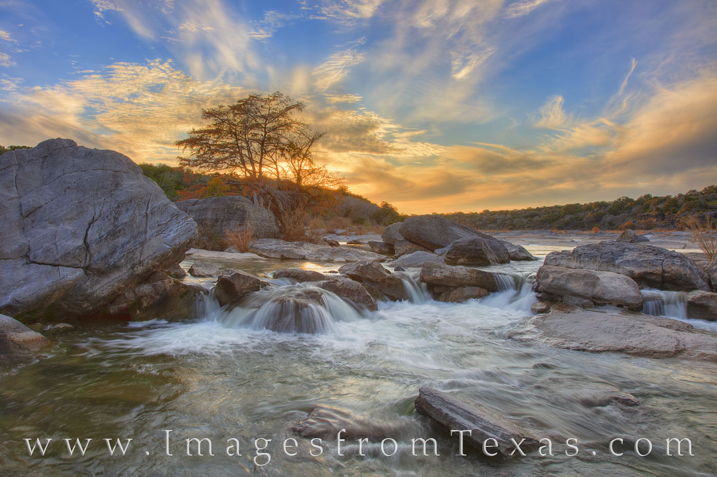 pedernales falls, autumn color, autumn, cypress, hill country, waterfal, pedernales river, sunset, evening, orange, solitude, photo