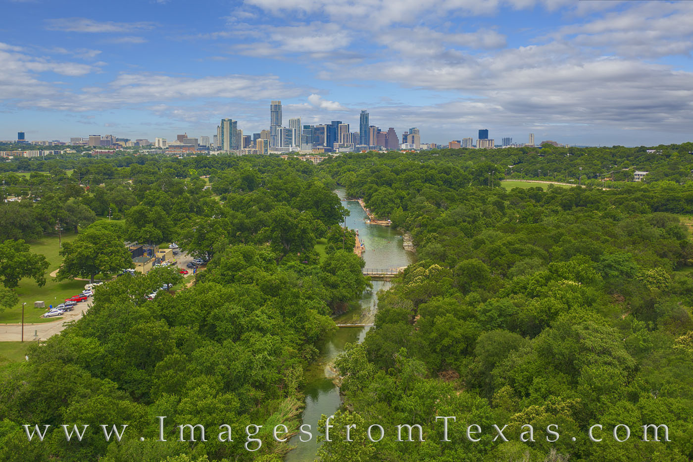 barton springs pool, barton springs, drone, aerial, austin skyline, downtown austin, central texas, summer, afternoon, june, photo
