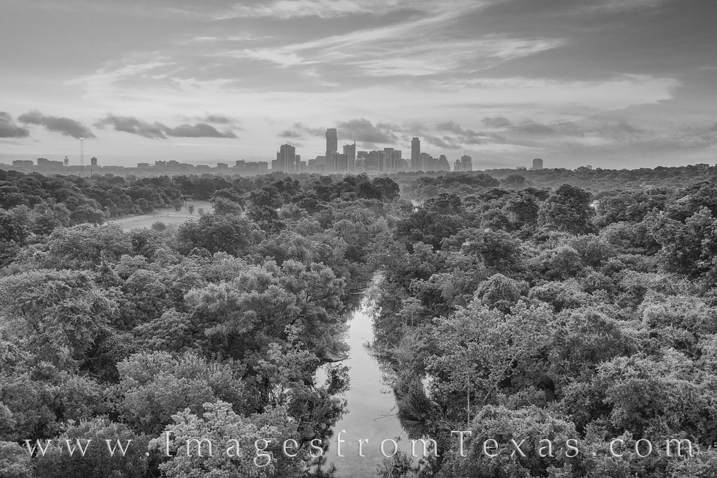 barton springs, barton springs pool, greenbelt, austin, skyline, jenga tower, independent, austonian, black and white, drone, aerial, photo