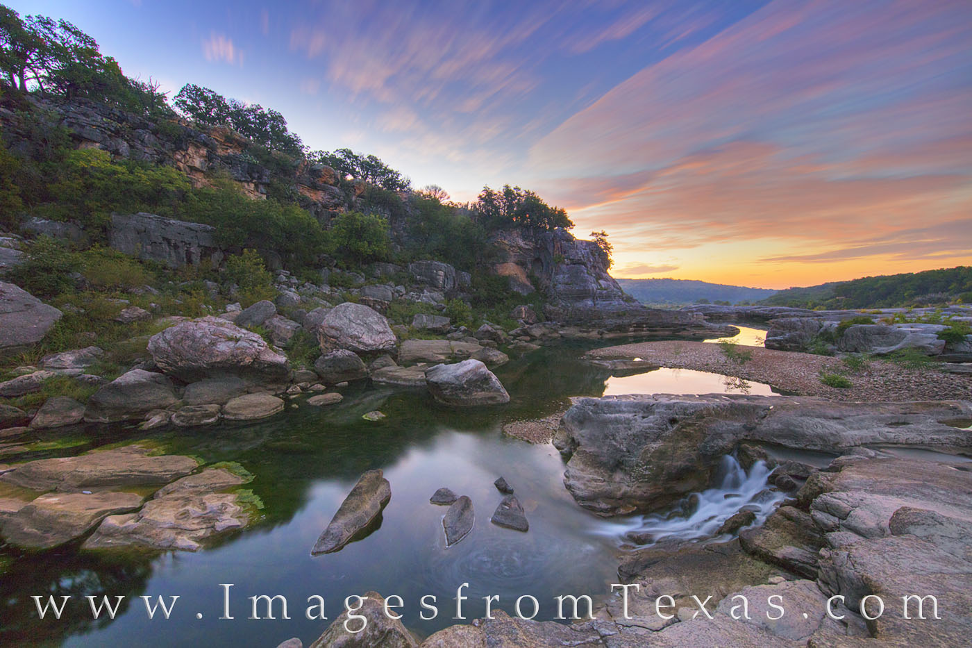 texas hill country, hill country, pedernales, pedernales river, sunrise, texas sunrise, texas morning, water, peace, hill country images, texas hikes, photo