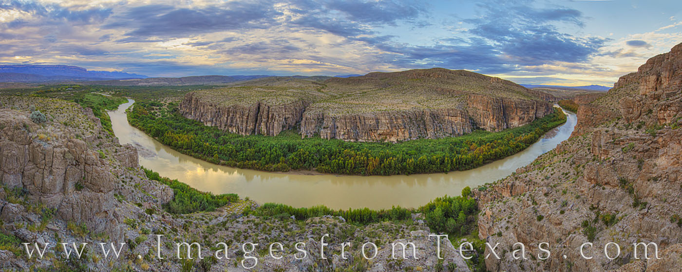 This morning panorama comes from the Hot Springs Trail in Big Bend National Park. Far below the rocky cliffs, the Rio Grande...