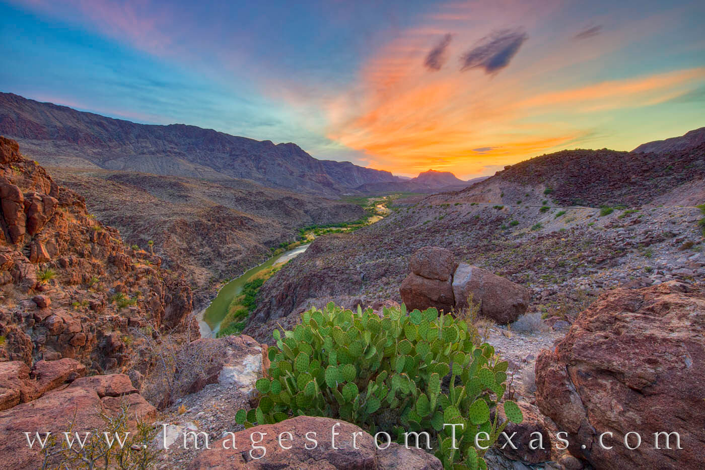 big bend ranch state park, rio grande, sunset, prickly pear, FM 170, big hill, texas landscapes, bbrsp, favorite, orange