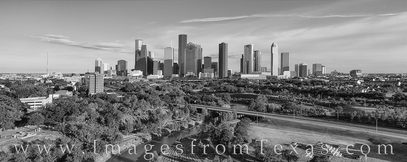 buffalo bayou, houston skyline, afternoon, november, drone, aerial photogaphy, Houston aerial, aerial, blue sky, panorama, black and white, photo