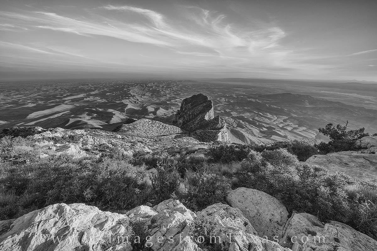 This black and white image was taken from the summit of Texas' tallest point, Guadalupe Peak (8,751 feet). The hike to this...