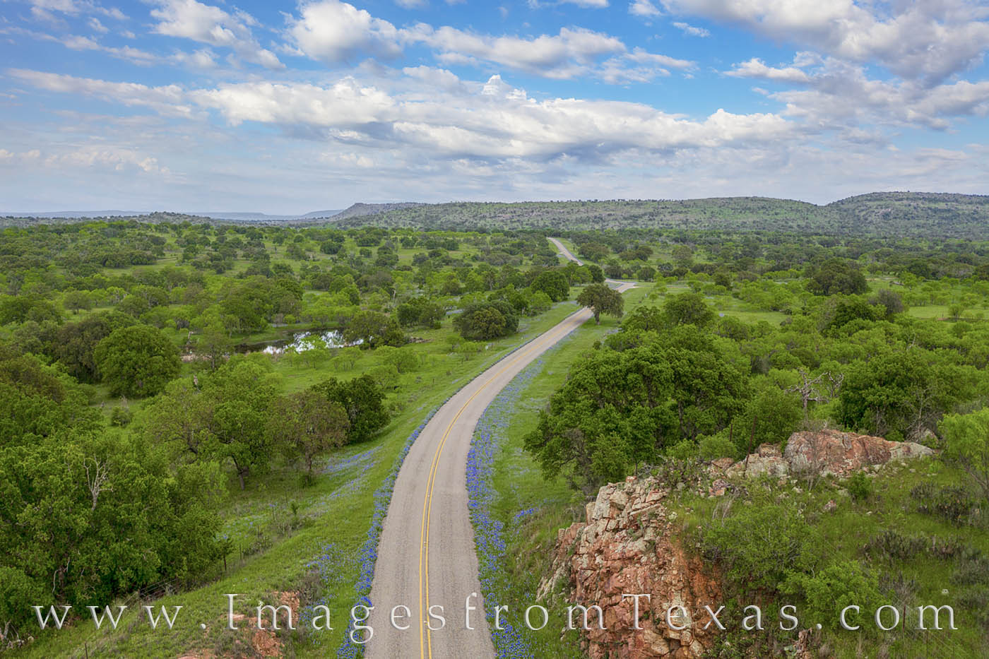 bluebonnets, drone, hill country, bluebonnet drive, afternoon, wildflowers, texas bluebonnets, texas wildflowers, aerial views, bluebonnet prints for sale, photo