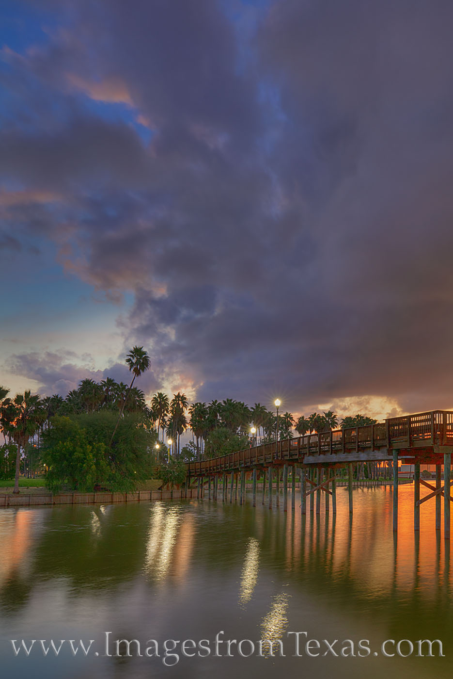 brownsville, resaca, water, sunset, bridge, evening, reflection, clouds, south texas, bordertown, texas coast, photo