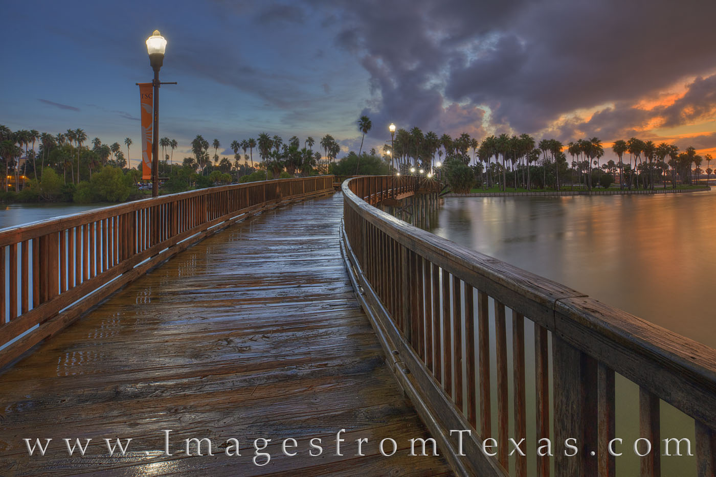 In Brownsville, Texas, a footbridge spans one of the beautiful resacas that are found across this border town. A brief rainstorm...