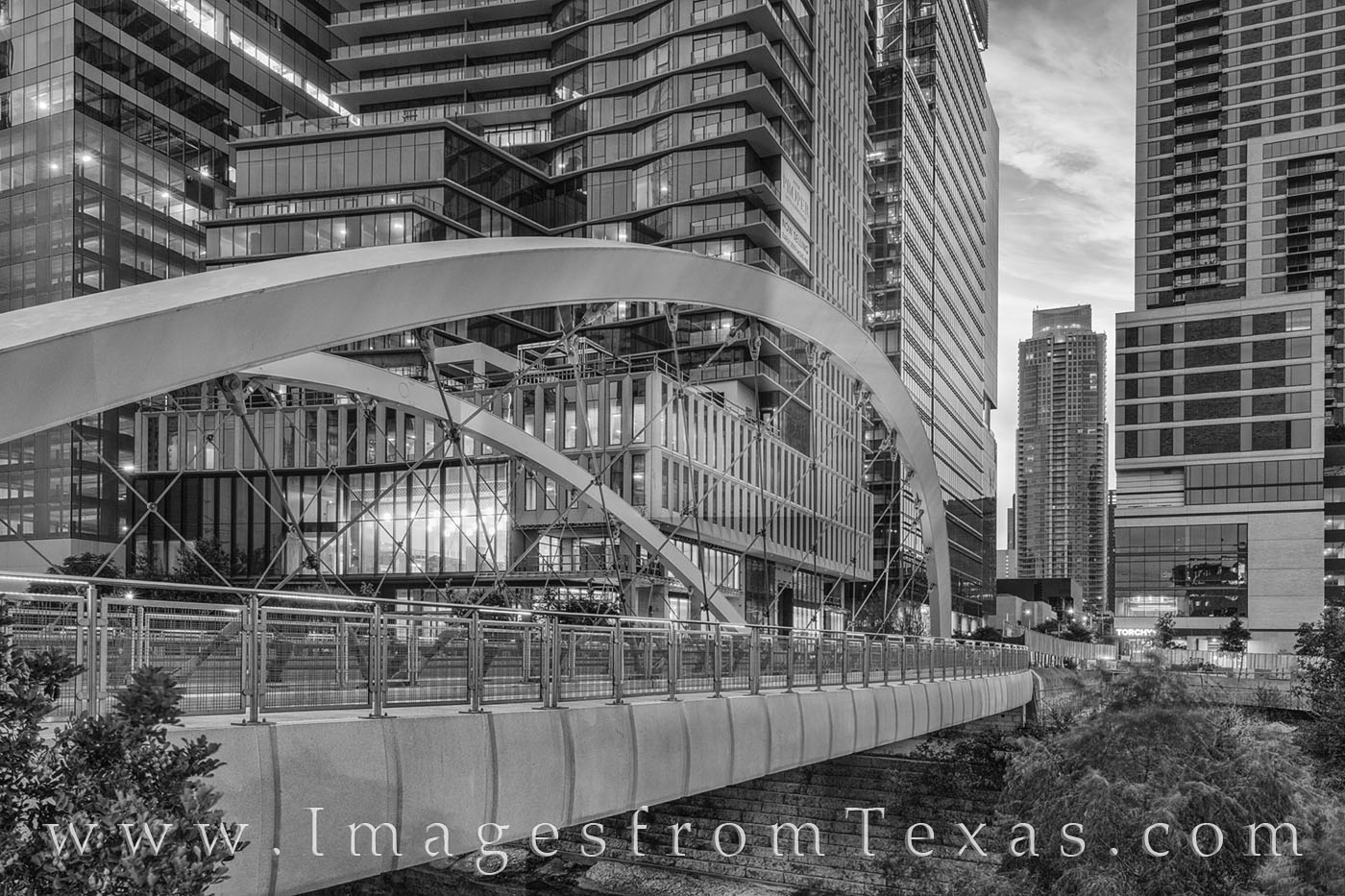 butterfly bridge, austin, downtown, austonian, shoal creek, skyline, 2nd street, sunrise, morning, bridge, photo