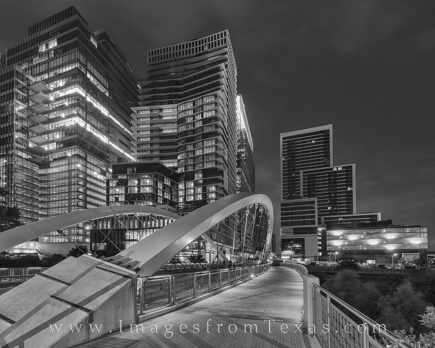 butterfly bridge, austin, downtown high rise, shoal creek, ladybird lake, 2nd street, morning, dark, bridge, pedestrian, photo