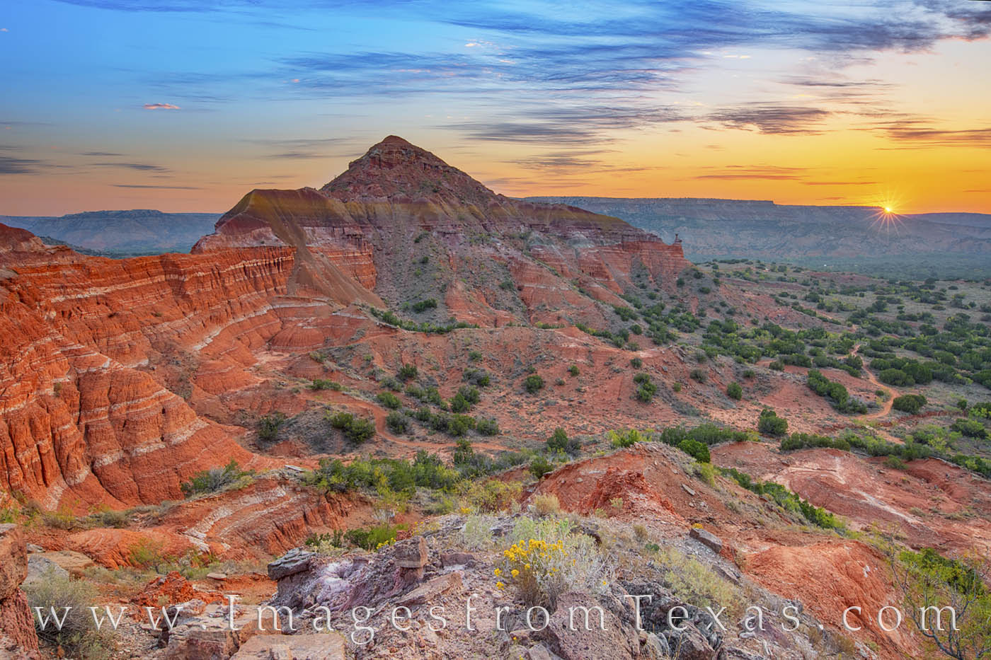 capitol peak, sunrise, palo duro canyon, palo duro prints, west texas, hiking, broom weed, solitude, texas state parks, photo