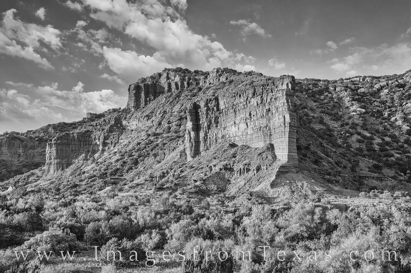 This black and white photograph comes from the South Prong Overlook in Caprock Canyons State Park. Late afternoon light shined...