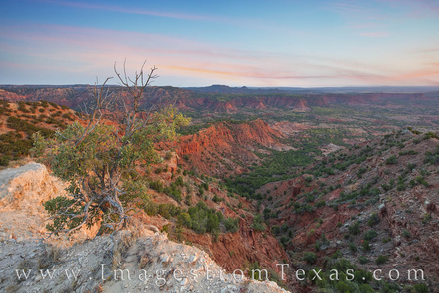 Soft clouds filled the morning sky in this photograph from the Haynes Ridge Overlook in Caprock Canyons State Park. The hike...