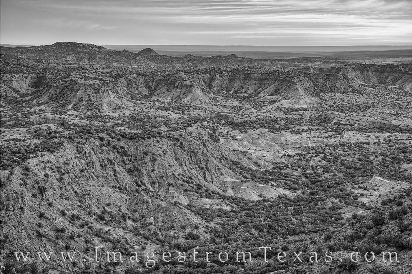 The canyons of Caprock are beautiful in the morning. This black and white photograph shows the beautiful and desolate landscape...