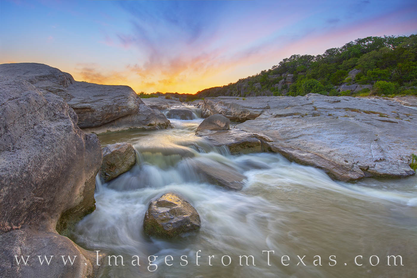 hill country, waterfall, cascade, summer, sunset, pedernales, texas state parks, hill country prints, photo