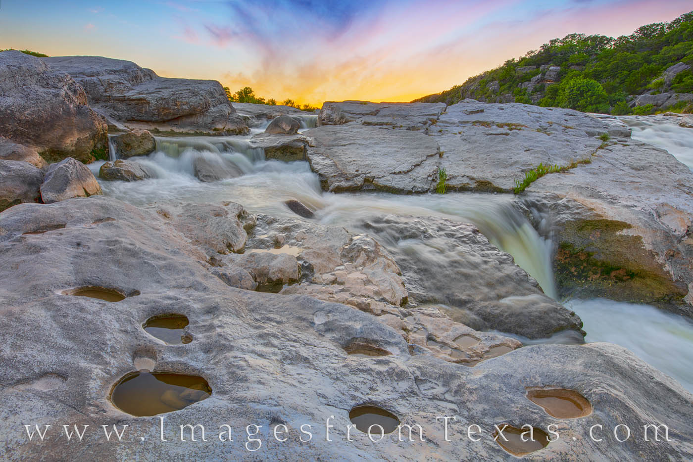waterfall, cascade, pedernales falls, hill country, state park, texas state park, summer, sunset, hill country prints, photo