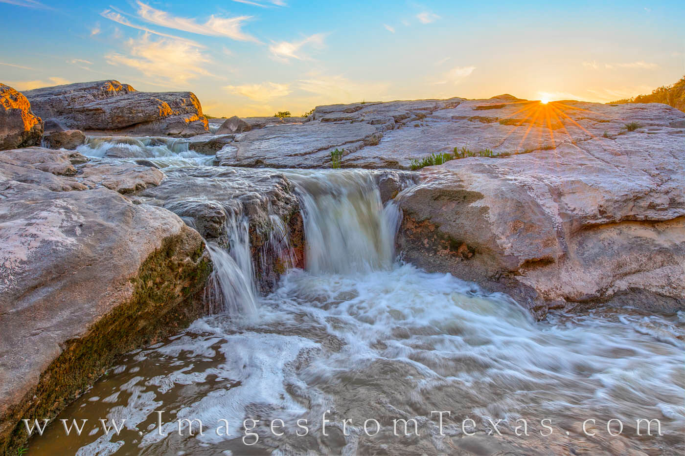After an afternoon rain, this cascade pouring over the limestone rock in Pedernales Falls State Park made for a nice composition...