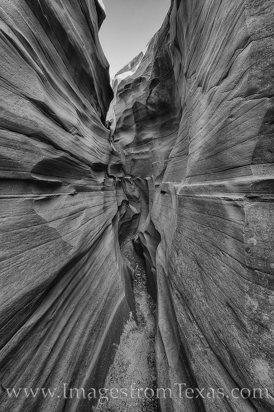 This black and white image highlights the curves and lines of this Texas slot canyon found in Palo Duro Canyon State Park. While...
