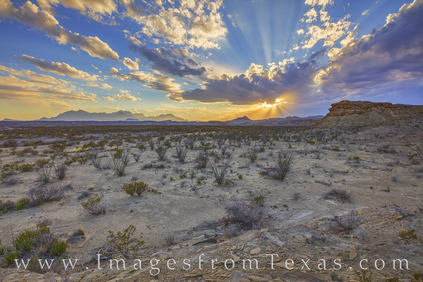 big bend national park, chisos mountains, chihuahuan desert, tornillo flats, big bend prints, sunset, light rays, west texas, texas national parks, photo