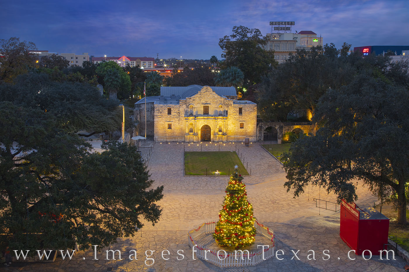 alamo, christmas, tree, riverwalk, december, photo