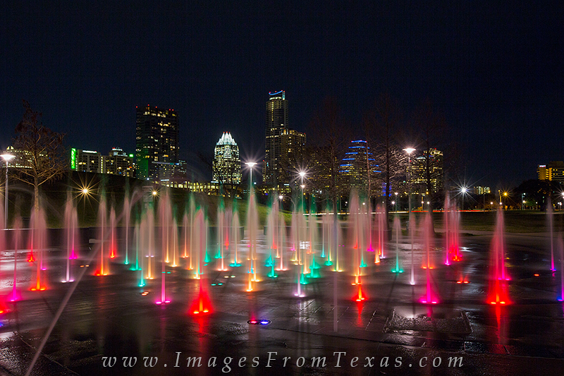 liz carpenter fountain,austin skyline view,downtown austin from zilker park,zilker park, photo