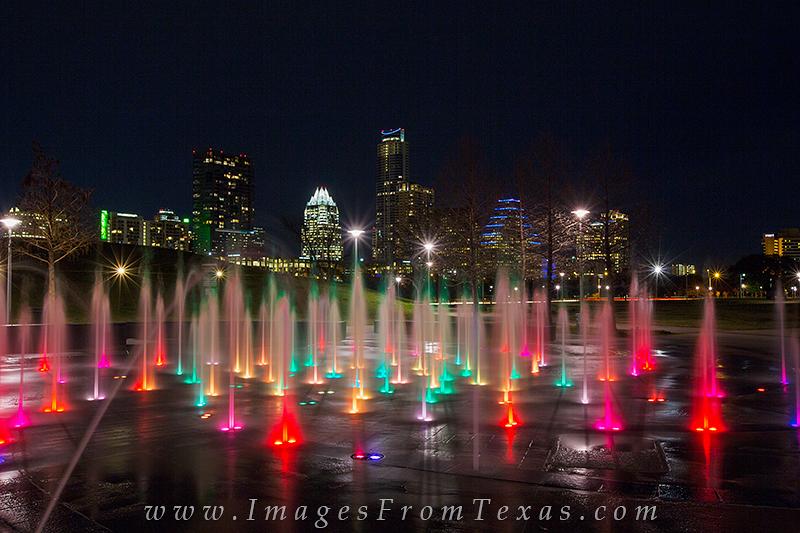 liz carpenter fountain,austin skyline view,downtown austin from zilker park,zilker park, photo