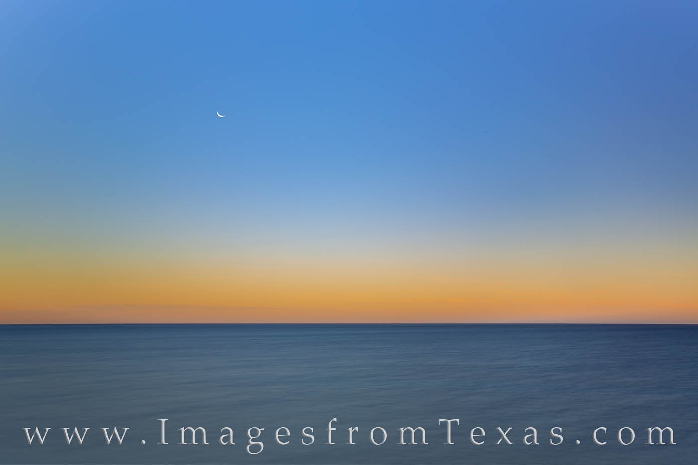 gulf of mexico, ocean, crescent moon, moonrise, gulf prints, solitude, photo