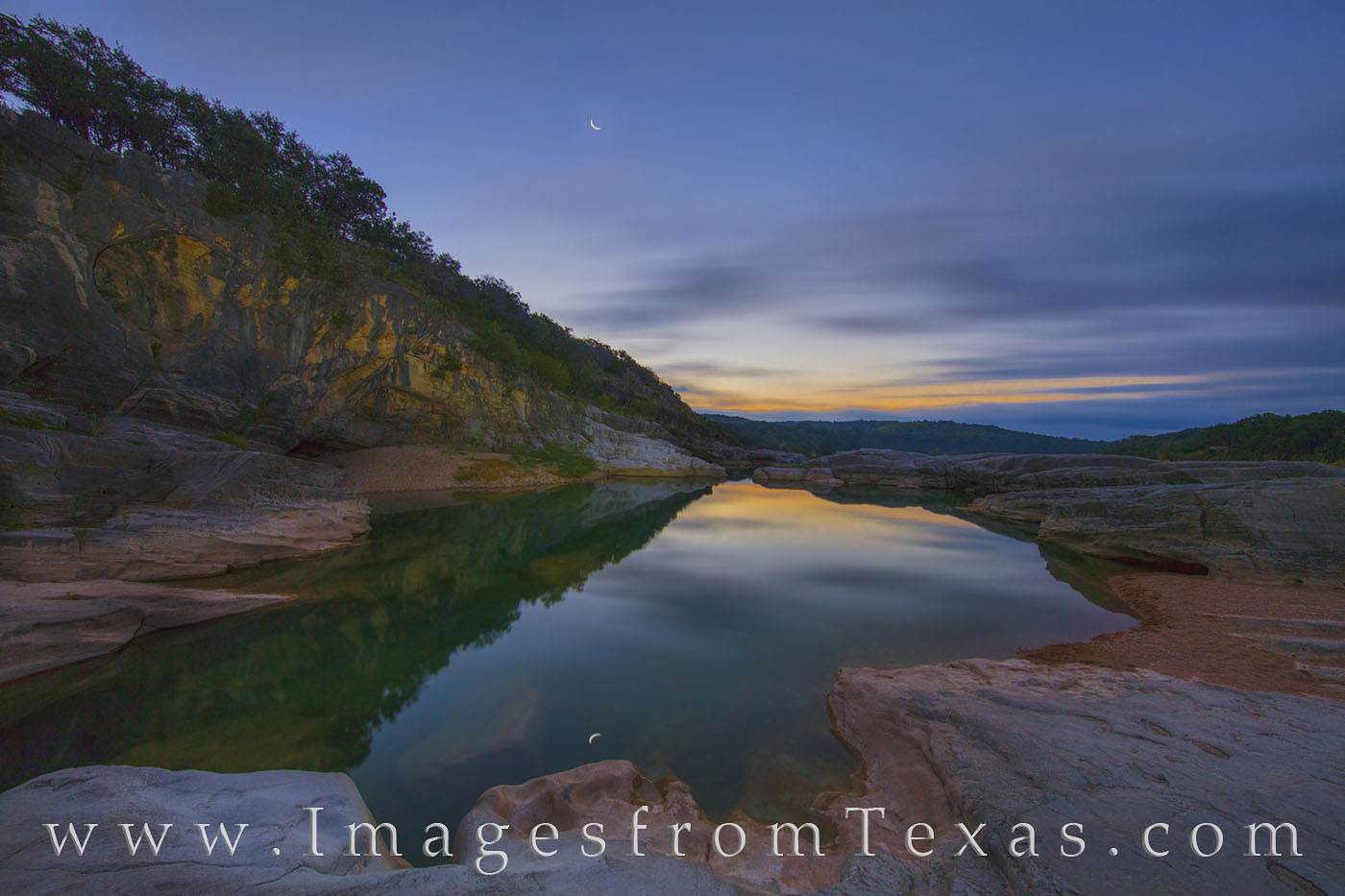texas hill country, pedernales river, texas parks, texas state parks, pedernales falls, texas landscapes, texas morning, reflections, sky, september, photo