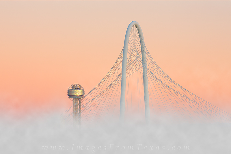 dallas skyline,margaret hunt hill bridge,reunion tower,dallas bridges,dallas in fog, photo