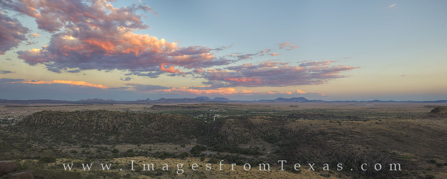Along the CCC Trail in Davis Mountains State Park, this panorama shows the beauty of this mountain range on a summer evening....