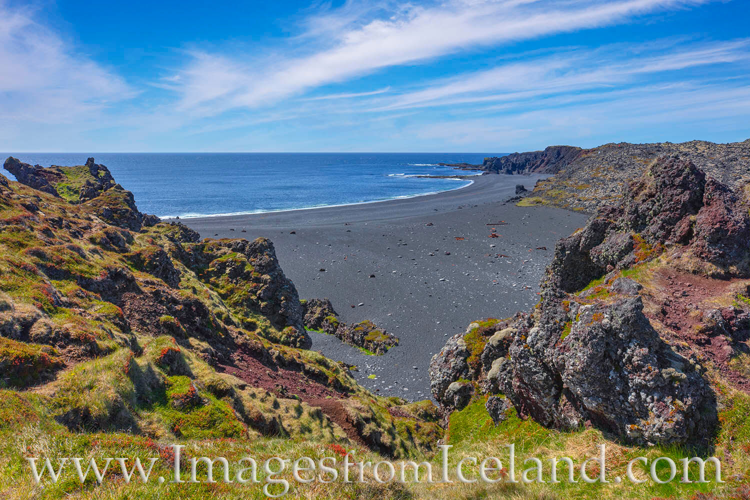The black sands of Djúpalónssandur Beach along the coast of the Snæfellsnes Peninsula are beautiful to explore, washed-up...