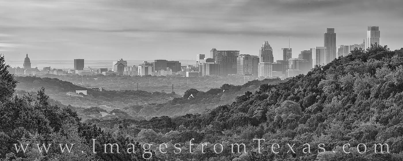 downtown austin, skyline, 360 lookout, panorama, morning, capitol, capital, jenga, frost, austonian, black and white, photo