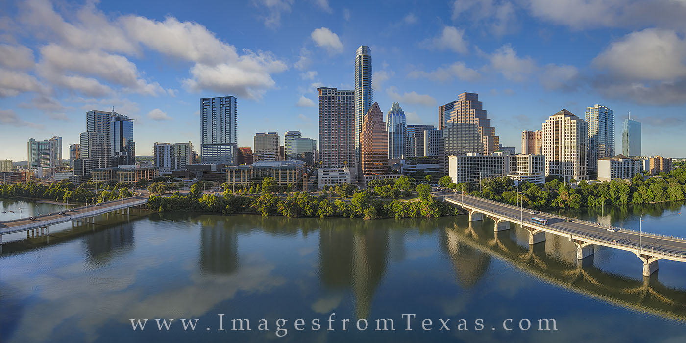 From the top floor of the Hyatt Hotel on Lady Bird Lake, this is the view of Austin skyline on a perfect May afternoon. All the...