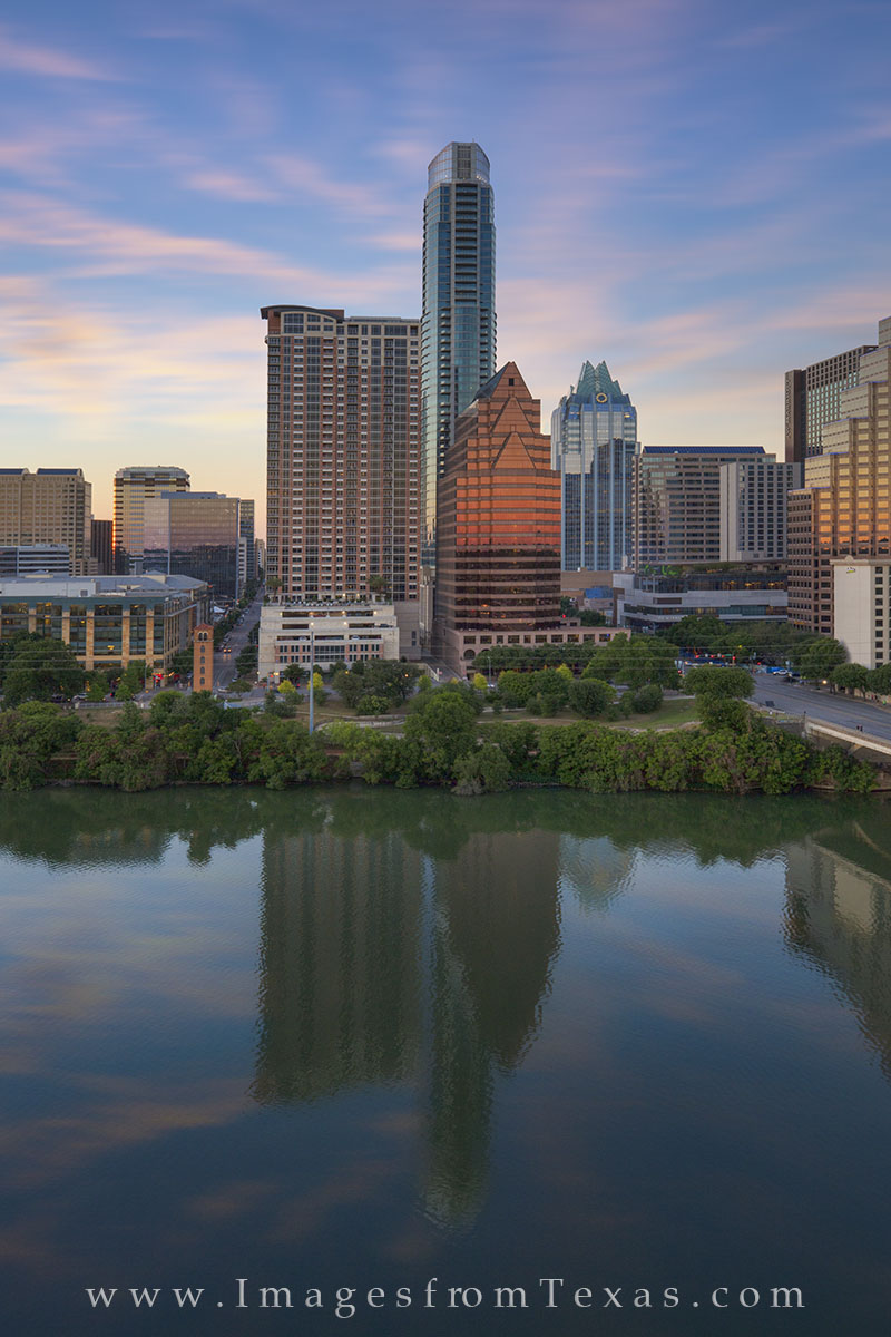 From the top of the Hyatt on Lady Bird Lake, this is the view of downtown Austin. The most prominent high rises in this skyline...