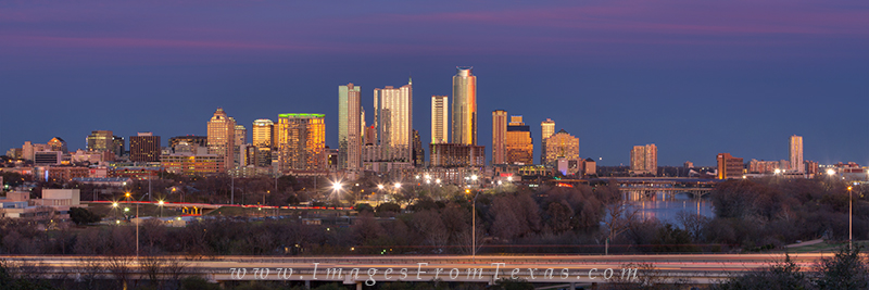 From the Zilker Clubhouse, this pano of the Austin skyline shows the buildings lit up with the last light of day. Behind me...