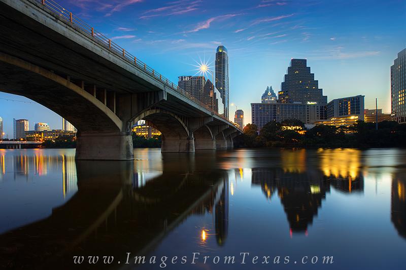 austin cityscape,austin texas sunrise,congress bridge images,frost tower,austonian, photo