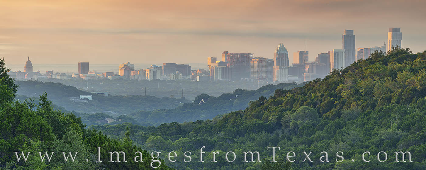 downtown austin, skyline, 360 lookout, panorama, morning, capitol, capital, jenga, frost, austonian, photo