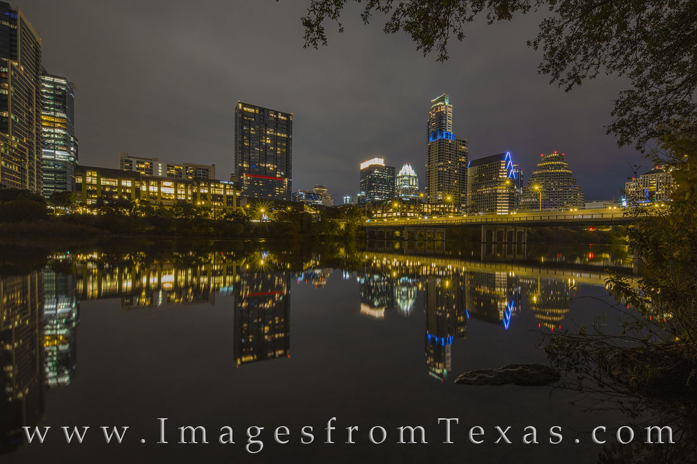 austin skyline, downtown, austonian, frost tower, ladybird lake, town lake, austin texas, reflections, night, evening, photo