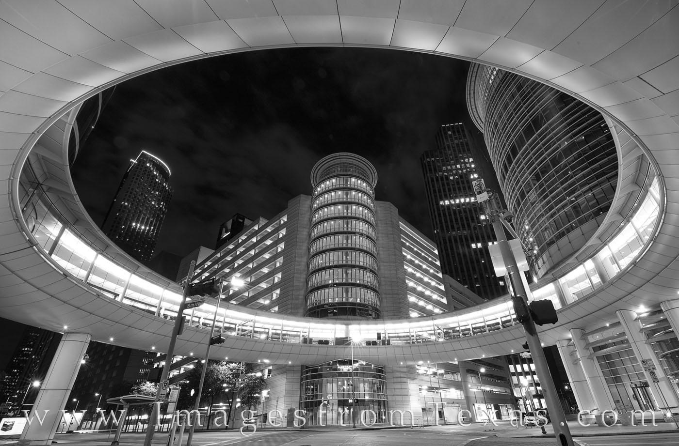 houston, downtown, chevron, enron, architecture, night, houston at night, black and white, photo