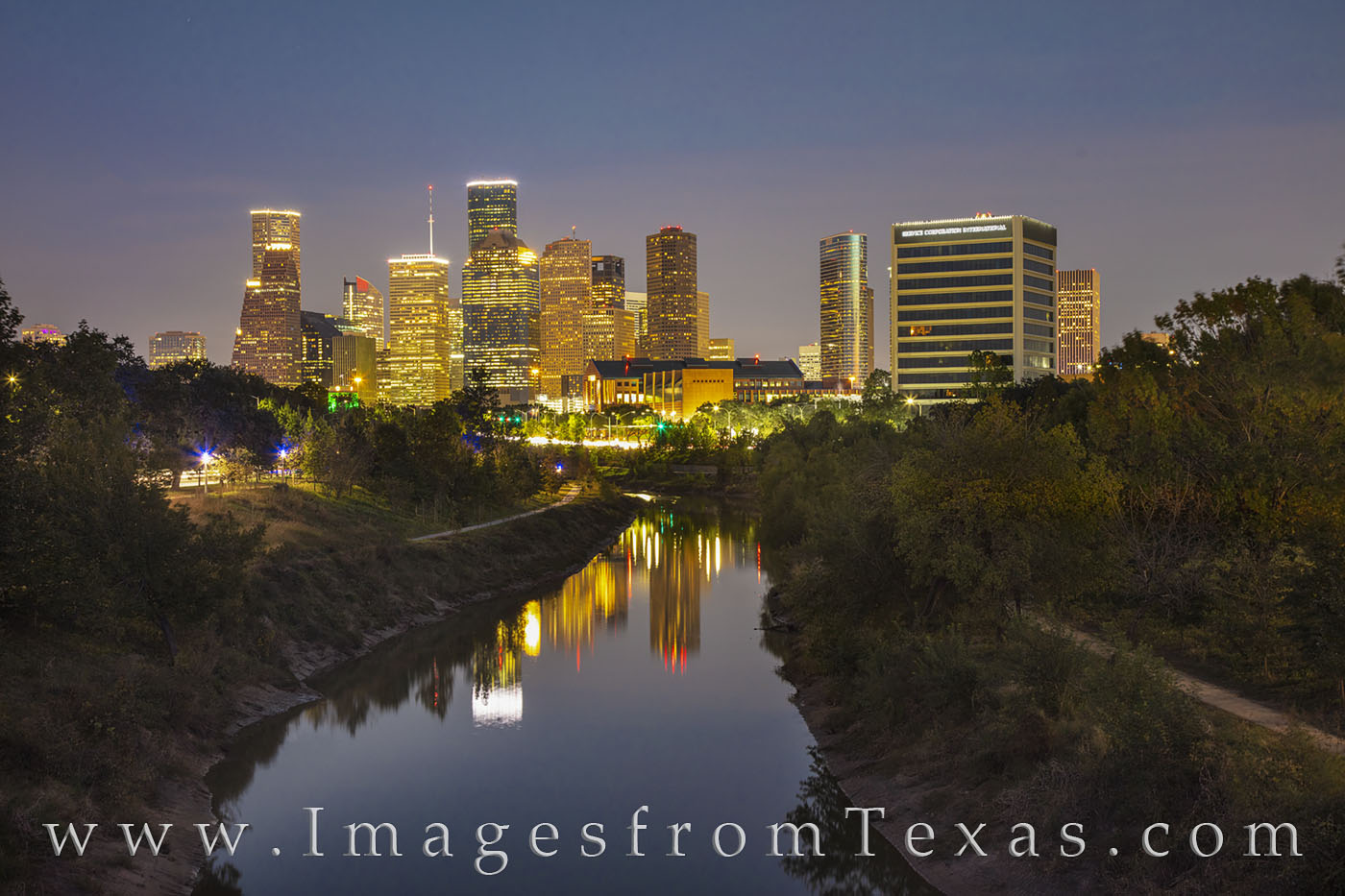 houston, night, buffalo bayou, reflection, lights, city, skyliine, trails, photo