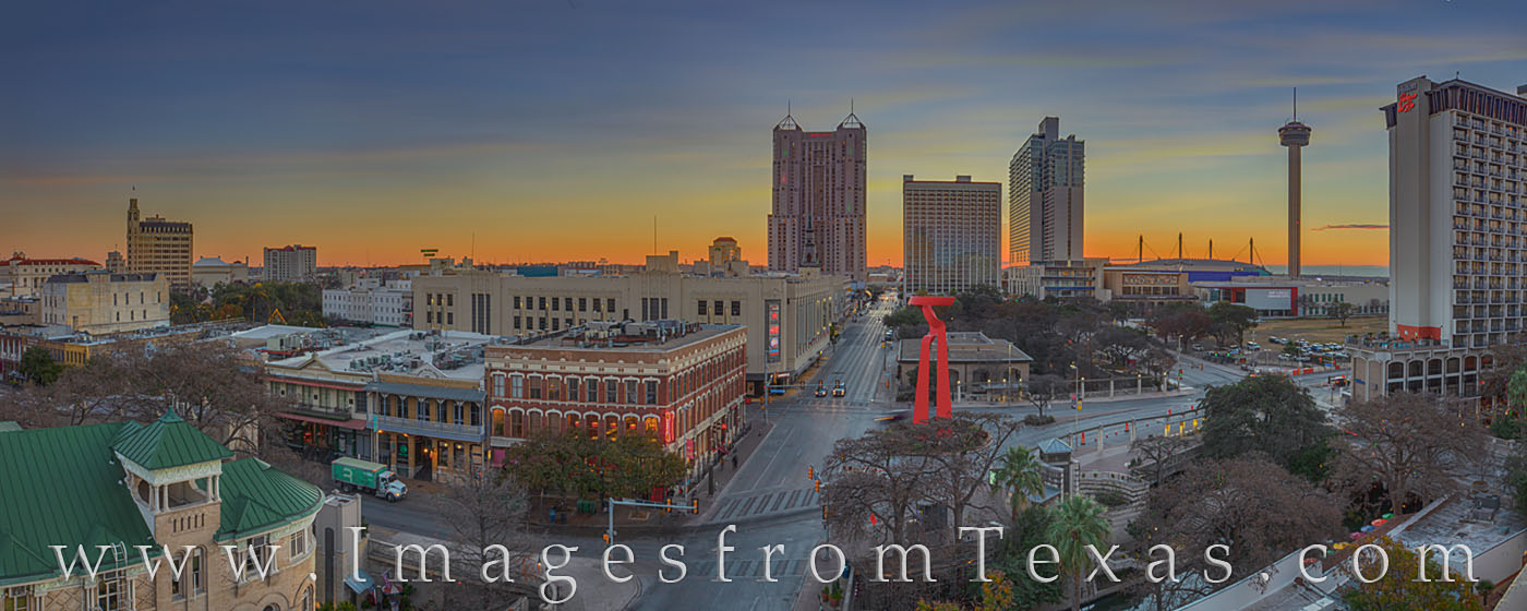 san antonio, downtown, torch of friendship. tower of the americas, marriott rivercenter, skyline, morning, sunrise, photo