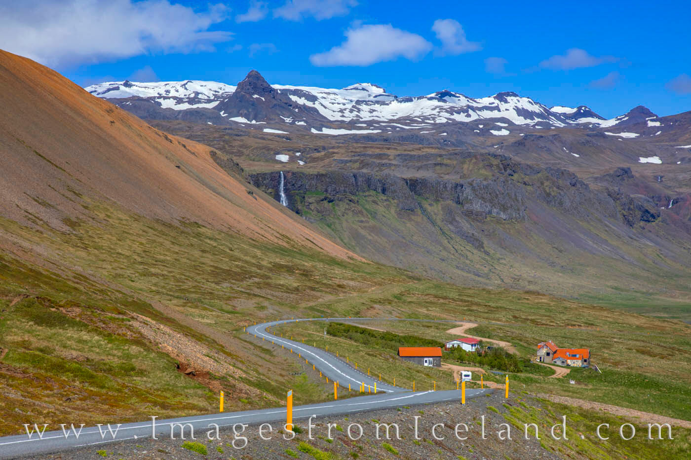 The long and winding road is an easy and beautiful drive around the Snæfellsnes Peninsula. This is the Útnesvegur highway on...