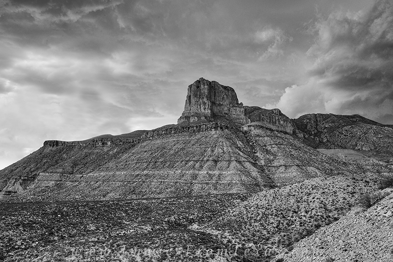I had stood at the top of the tallest peak in Texas just hours before capturing this black and white image. The rugged peak in...