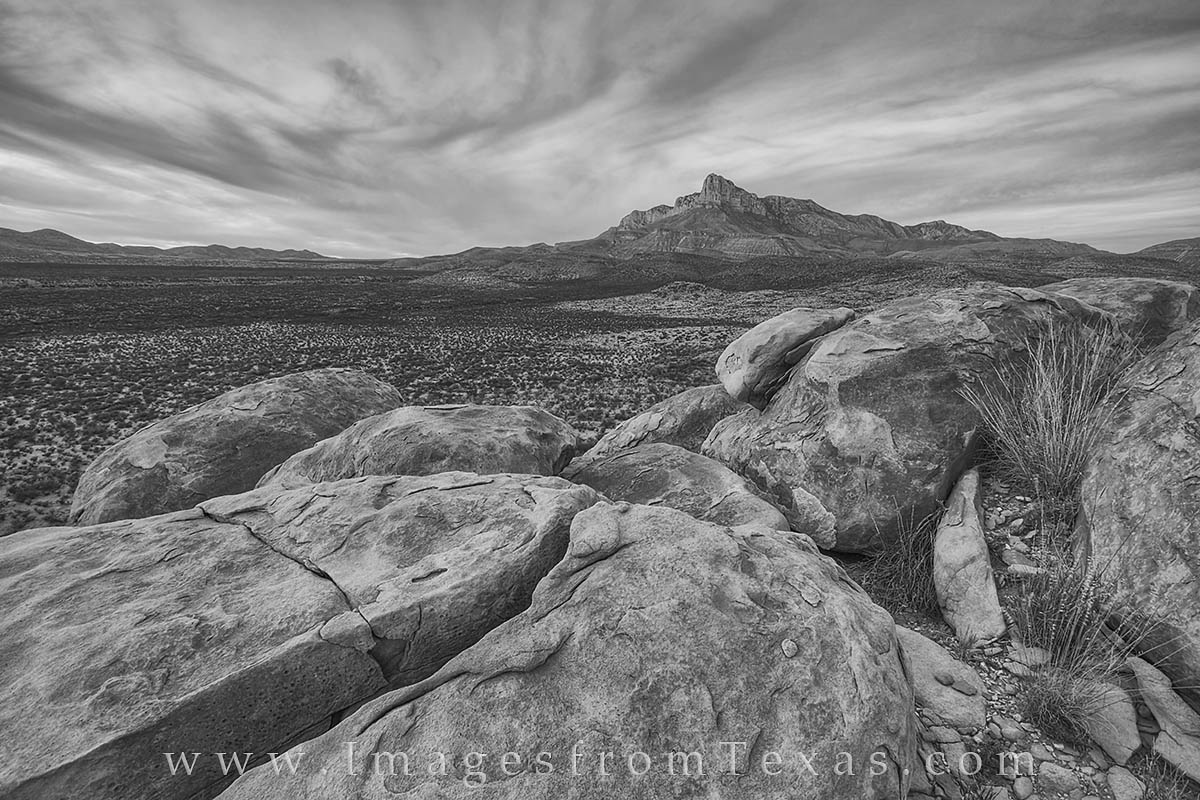High clouds swirl around the summit of El Capitan in Guadalupe Mountains National Park. This Texas landmark is the 8th highest...