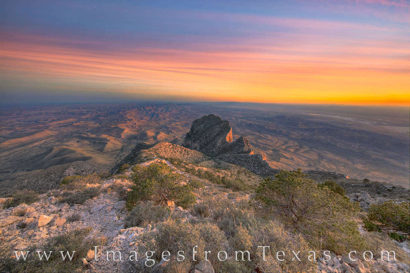 Guadalupe Peak, El Capitan, Guadalupe Mountains National Park, west Texas, Guadalupe Mountains, sunset, Chihuahuan Desert, Texas landscapes, texas icons, texas landmarks, photo